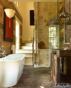 A bathroom with natural elements
