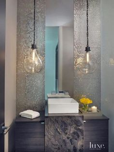 Contemporary Neutral Powder Room with Penny Round Mosaic - Luxe Interiors + Design Bad Inspiration, Bathroom Inspiration, Bathroom Ideas, Bathroom Furniture, Modern Powder Rooms, Modern White Bathroom, Powder Room Design, Wood Accents, Bathroom Interior Design
