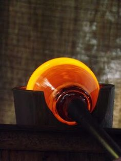 This is a picture of a piece of glass being made. The red, orange, and yellow colors it has at this point are incredible.