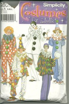 Simplicity Sewing Pattern 9800 Men's Women's Costume Clown Sizes S M L New
