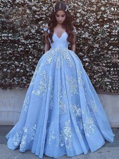 Princess Prom Dresses V-neck Sky Blue Off the Shoulder Quinceanera Dresses Princess Prom Dresses, Blue Wedding Dresses, Bridal Dresses, Princess Costumes, Pink Dresses, Wedding Gowns, Lace Wedding, Ball Gowns Prom, Ball Dresses