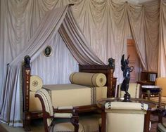 Napoleon's Bedroom, Chateau de Malmaison, Fontaine and Percier Chateau De Malmaison, La Malmaison, Empire Design, Sleeping Together, Style Empire, Campaign Furniture, French Castles, French Empire, Antique Interior