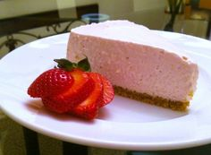 Slice of no bake strawberry cheesecake
