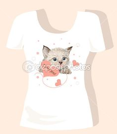 t-shirt-design für kinder mit kätzchen und herzen — Stockilllustration #5423863