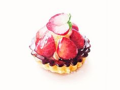 Cute Food Drawings, Sweet Drawings, Sweet Recipes, Real Food Recipes, Yummy Food, Dessert Illustration, Pinterest Instagram, Watercolor Food, Pastry Art