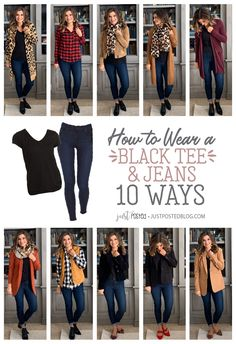 How to Style a Black tee and Jeans 10 Different Ways - Perfect for a Capsule Wardrobe! How to Style a Black tee and Jeans 10 Different Ways - Perfect for a Capsule Wardrobe! Black Tees, Black Tee Outfit, Chambray Shirt Outfits, Pink Blazer Outfits, Black Dress Outfits, Fall Winter Outfits, Autumn Winter Fashion, Casual Outfits, Fashion Outfits