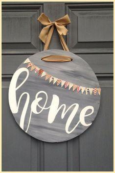 Front Door Home Hanging Sign  #HomeDecor #WallArt #Ad #Farmhouse #Cottage #Rustic #FixerUpper #HomeDecor #FixerUpper #Home #DoorHanger #Porch