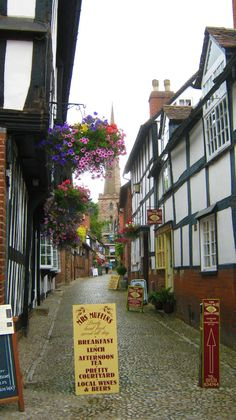 Ledbury, Herefordshire: The hanging baskets were just beautiful in the UK.