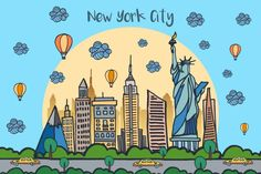 New York City Vector Free Illustration is a beautiful themed drawing. It depicts the buildings and attractions of the beautiful city of New York City Vector, Vector Art, Website Design Layout, Layout Design, Travel Companies, Free Illustrations, Icon Set, Vintage Posters, Instagram Story