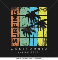 Vector illustration on the theme of surf and surfing in California 0cc7bd9cc101f