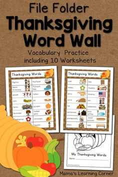 File Folder Word Wall: Thanksgiving!