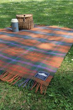 New Penfield picnic blanket Orange, 100% lambs wool, in collaboration with Johnstons of Elgin.