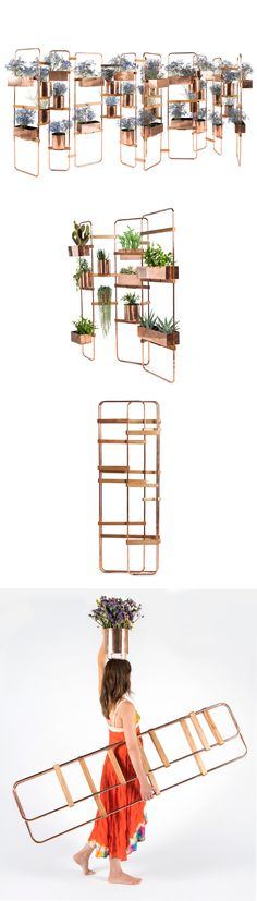 Design by #NataliaGeci Different sized metal frames and wooden hinges create an innumerable amount of configurations. These self standing structures can be clothes hangers, office panels, dividing screens, children's puppet theatre, to name a few. Lynko System comes with accessories such as mirrors, hooks, hangers, trays, shelves, leather or fabric pockets, etc.