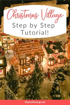 Step by step instructions on creating a Christmas village display as a family tradition. Included are money saving tips and a video tutorial! Christmas On A Budget, Little Christmas, Homemade Christmas, All Things Christmas, White Christmas, Christmas Village Display, Christmas Villages, Holiday Time, Favorite Holiday