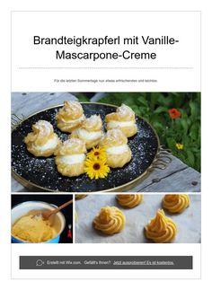 Brandteigkrapferl mit Vanille-Mascarpone-Creme Mascarpone Creme, Cantaloupe, Fruit, Food, Vanilla, Summer Days, Essen, Meals, Eten