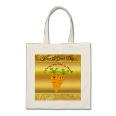 Cartoon carrots with big eyes and a smile to go tote bag - foil leaf gift idea special template