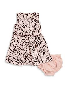Kate Spade Baby Girls Bow Front Dotted Sleeveless Dress  Pink 6 Months