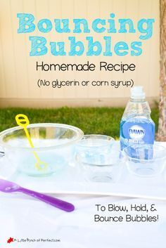 Homemade Bouncing Bubbles Recipe Video No glycerin or corn syrup A Little Pinch of Perfect Science Activities, Summer Activities, Preschool Activities, Bubble Activities, Science Stations, Outdoor Activities, Preschool Kindergarten, Bubble Party, Bubble Fun