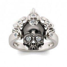 Silver Skull Rings, Skull Engagement Ring, Skull Wedding Rings For Women - Gothic Wedding Rings, Unusual Wedding Rings, Skull Wedding Ring, Gothic Engagement Ring, Silver Skull Ring, Silver Wedding Rings, Wedding Rings For Women, Diamond Engagement Rings, Skull Rings