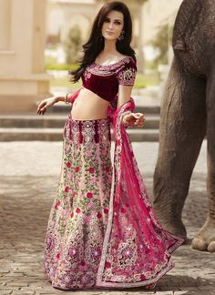 Burgundy and pink velvet lehenga.