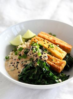 This hearty and grounding vegetarian dish will leave you full and satisfied. Crunchy and lightly spiced tofu makes an incredibly delicious protein source.