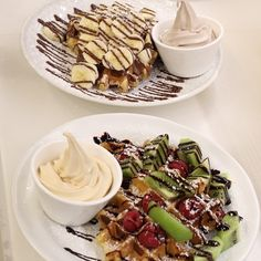 """@iloveayomo's photo: """"This is where you have WAFFLES! How do you like it.  Fruity waffles with fresh raspberries, kiwi chunks and dark chocolate drizzle. Banella waffles with classic nutella and banana with hazelnut chocolate drizzle. Not forgetting THE FROZEN YOGURT!"""""""