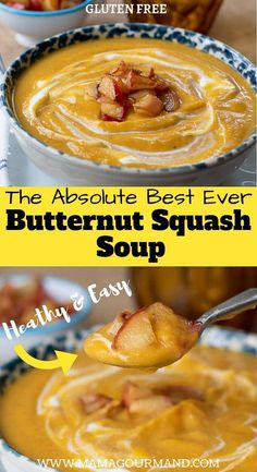The best Roasted Butternut Squash soup recipe out there! This easy healthy butternut squash soup is sweetened slightly with apples and deliciously creamy. via MamaGourmand Butternut Squash Soup Crockpot, Tapas, Soup Recipes, Cooking Recipes, Easy Recipes, Amazing Recipes, Recipies, Healthy Recipes, Curry