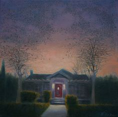 A suburban dusk, thousands of birds, an imaginary event....at the end of the day birds gather in large numbers and swoop back and forth across the sky, emerging from the dusk like a dark cloud and creating elegant patterns against the fading light. Why? It's a mystery that no one really knows for sure. Painted on gallery wrapped linen, on 1 1/2 inch deep stretchers. The edges are hand painted, providing a finished look, suitable for framing, or beautiful left as is.  oil on linen ​12 x 12…