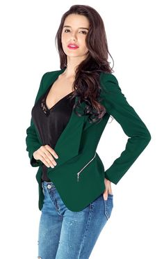 Level up your preppy game with this deep green draped blazer.