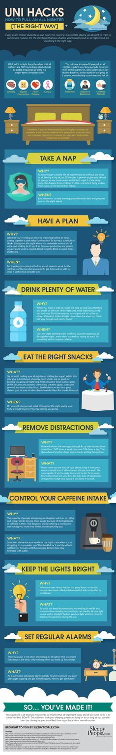Uni Hacks: How To Pull An All Nighter the Right Way Infographic - http://elearninginfographics.com/uni-hacks-how-to-pull-an-all-nighter-the-right-way/