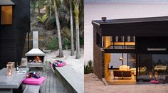 Waikopua _ Family beach house on Waiheke Fire Places, Modern Architecture, Architects, Beach House, Outdoor Living, Living Spaces, Outdoors, Wall, Projects
