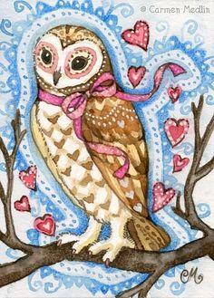 Heart Owl art print. A great Valentine's Day gift! Pinned by www.myowlbarn.com