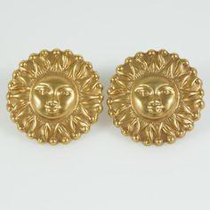 Vintage Brass Tone Sun Face Clip Earrings by BelleRoyaleVintage