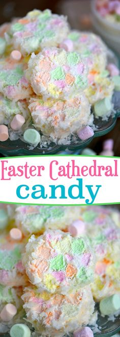 This Easter Cathedral Candy recipe requires only three ingredients and is so pretty! Great for Easter, baby showers, and other parties! Kids love to help with this easy recipe! // Mom On Timeout