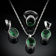 75% OFF Emerald 925 Sterling Silver Overlay Jewelry Sets