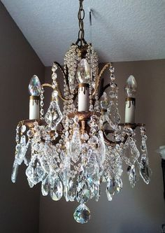 Vintage French Brass and Crystal Petite Chandelier French Chandelier, Antique Chandelier, Chandelier Lighting, Crystal Chandeliers, Victorian Chandeliers, Mirror Lamp, Deco Addict, Vintage Lighting, Beautiful Lights