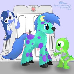 Monsters Inc. My little ponies who is the pony in the back supposed to be? Boo maybe?