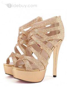 Most Fashion Golden Stiletto Heel Strappy Euramerican Style Women Sandals : Tidebuy.com #tidebuy