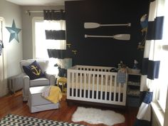 Nautical Nursery - love the navy and white color scheme with pops of yellow!