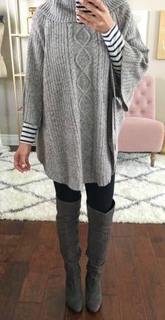 summer outfits Grey Oversized Knit + Black Leggigns + Grey Boots