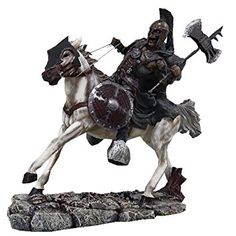 """Custom & Unique {9.75"""" Inch} 1 Single, Home & Garden """"Standing"""" Figurine Decoration Made of Grade A Resin w/ Mounted Undead Zombie Battle Ax Warrior Style {Brown, Grey, Black, & White}"""
