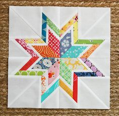 This is just a really pretty scrap quilt block, suitable for framing, really. Also,all that white space gives a nice canvas for practicing some of the machine embroidery designs.