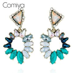 Comiya Statement Charming Colours Rhinestone And Stone Mosaic CC Long Earrings For Women Bohemian Fashion Accessories Earring #Affiliate