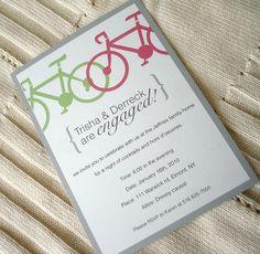 Bicycle Engagement Party Invitation Wedding Bridal by alamodebride, $1.75