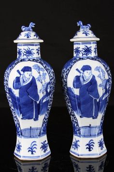 "CHINESE PAIR OF EARLY 17TH CENTURY ""KANGXINIANZHI"" MARKED BLUE AND WHITE PORCELAIN HEXAGONAL VASES PAINTED WITH FIGURES W:3"" H:8.25"""