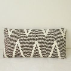 Beautiful pillow cover in an espresso & white chevron ikat print. Add a modern touch to your decor!    All of my pillows are handcrafted with