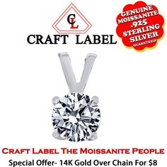 1.05 Ct Round Brilliant Cut 14K Gold Solitaire Pendant Without Chain. Starting at $1