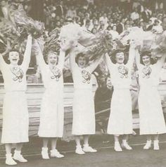 Oregon cheerleaders at a football game 1950. From the 1951 Oregana (University of Oregon yearbook). www.CampusAttic.com