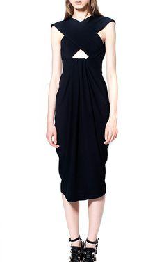 Satin Back Crepe Sleeveless Cross Front Dress by Proenza Schouler