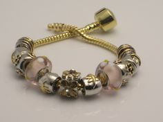 MY LITTLE FLOWER  - Pandora Style Charm Bead Bracelet - http://europeartimport.com/bibrowncr.html - Jewels by Regina